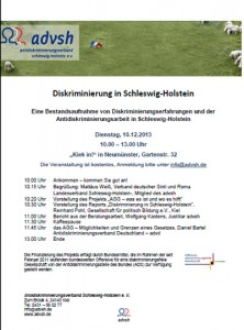 """Schleswig-Holstein, advsh - Einladung zur Veranstaltung """"Diskriminierung in Schleswig-Holstein"""""""