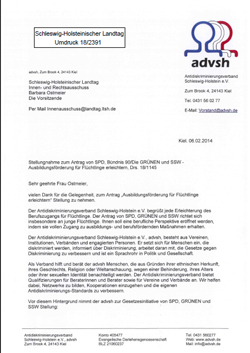 advsh-Stellungnahme Landtagsantrag Ausbildungsförderung für Flüchtlinge erleichtern