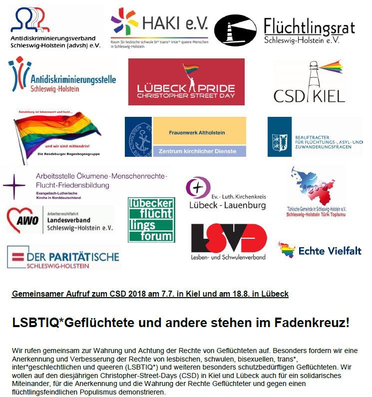 Gemeinsamer Aufruf zum CSD 2018 am 07.07. in Kiel und am 18.08. in Lübeck