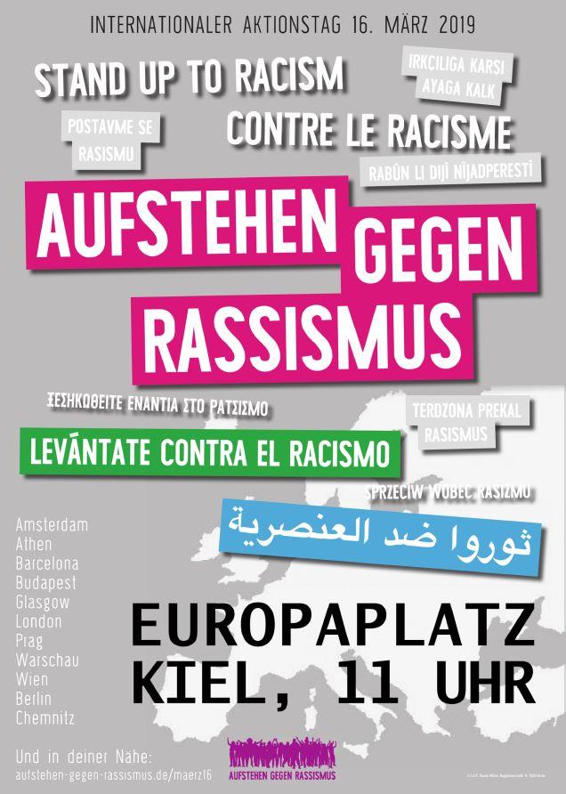 """Internationale Demo """"Aufstehen gegen Rassismus"""" am 16.03.2019 in Kiel"""
